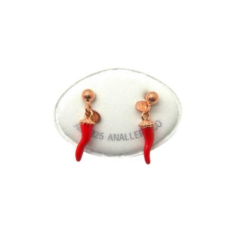 Orecchini argento 925 oro rosa cornetto smalto rosso