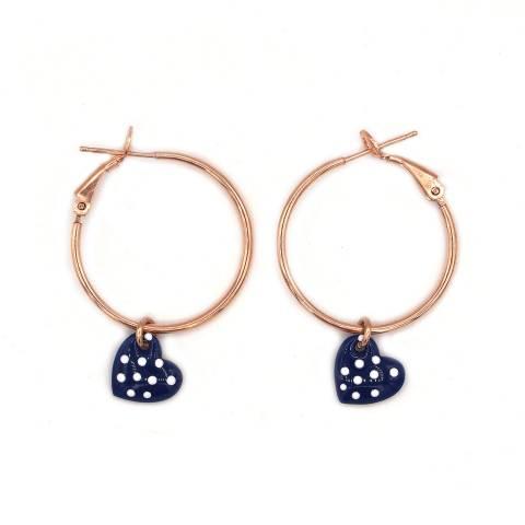 Orecchini cerchio argento 925 oro rosa cuore smalto blu pois bianchi