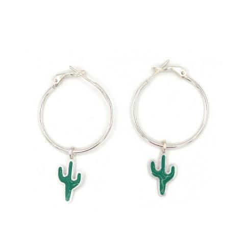 Orecchini cerchio grande argento 925 cactus verde