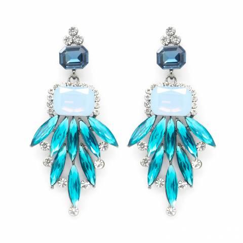 Orecchini Chandelier cascata cristalli azzurri