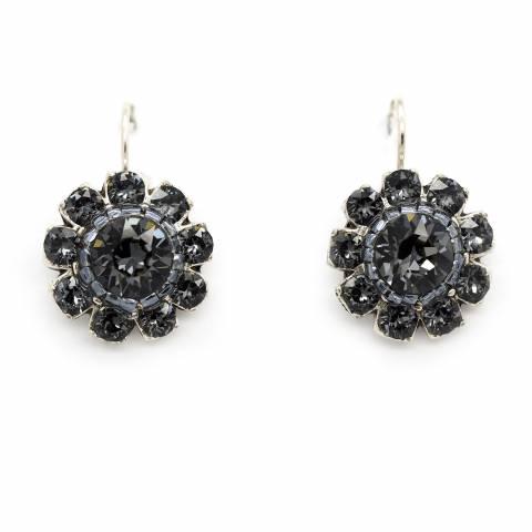 Orecchini corti pendenti fiore cristalli Swarovski grigi