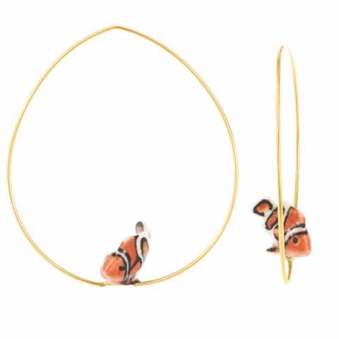 Orecchini creole a cerchio oro Pesce pagliaccio Nemo porcellana