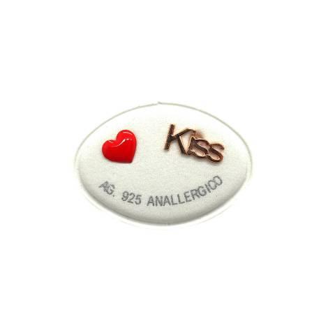 Orecchini lobo argento 925 oro rosa cuore rosso + Kiss