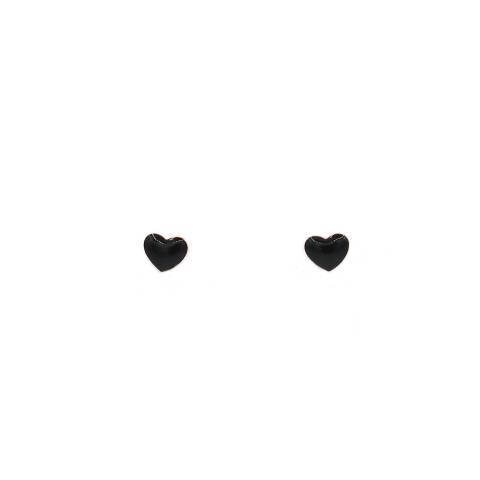 Orecchini lobo argento 925 oro rosa cuore smalto nero