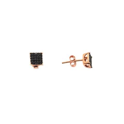 Orecchini lobo argento 925 oro rosa quadrato Zirconi neri