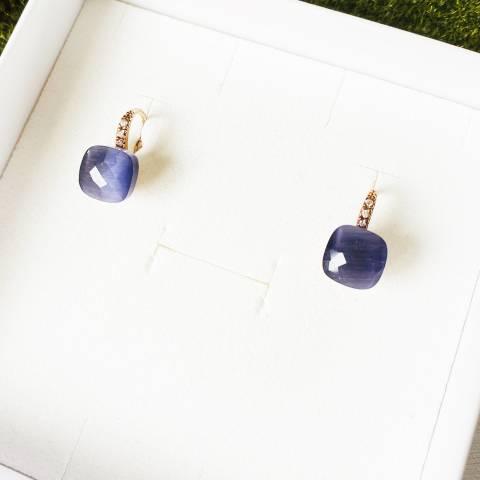 Orecchini Nudo argento 925 oro rosa Opale viola