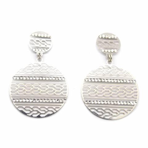 Orecchini pendenti a cerchio filigrana argento e Swarovski