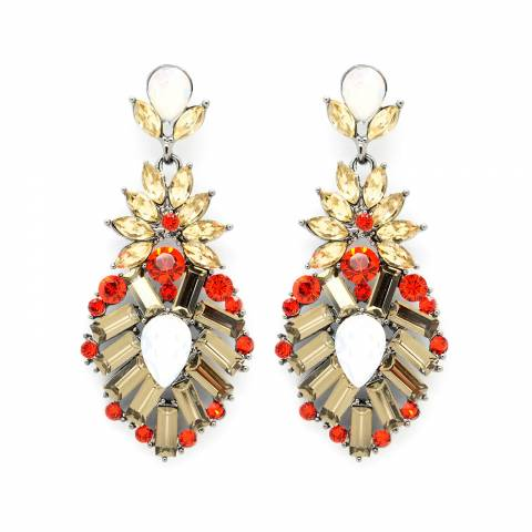 Orecchini pendenti a goccia cristalli oro e rossi