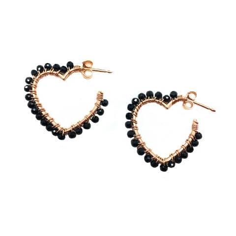 Orecchini pendenti argento 925 oro rosa cuore con Zirconi neri