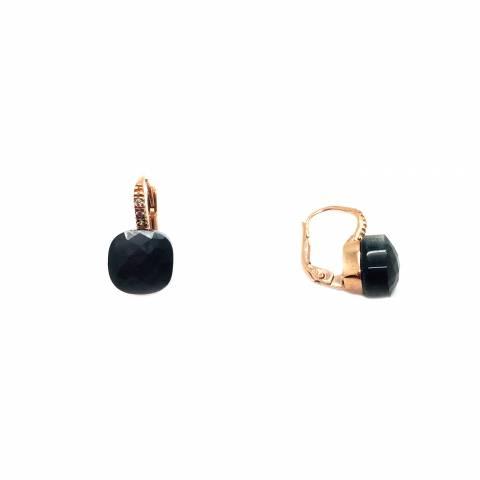 Orecchini pendenti argento 925 oro rosa Opale nero