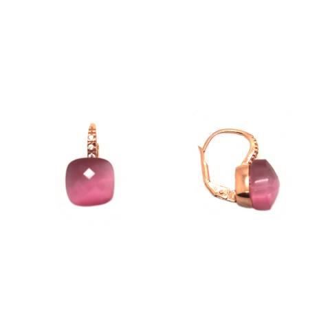 Orecchini pendenti argento 925 oro rosa Radice di rubino