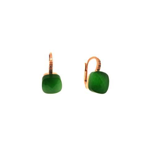 Orecchini pendenti argento 925 oro rosa Radice di Smeraldo