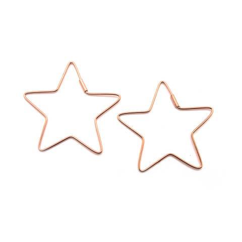 Orecchini pendenti argento 925 oro rosa stella vuota grande laterale