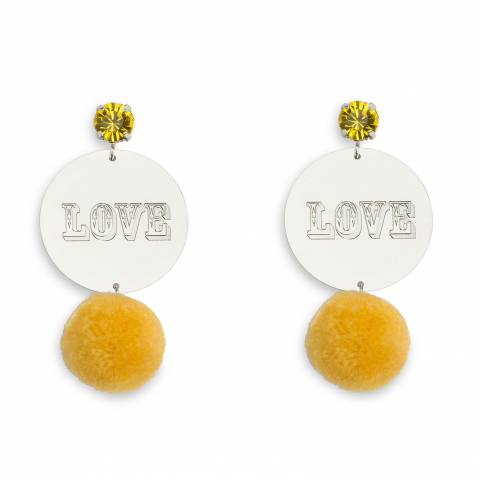 Orecchini pendenti argento Love e pon pon giallo
