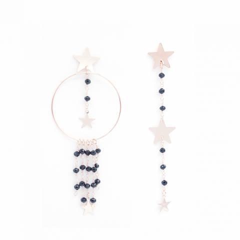 Orecchini pendenti asimmetrici rosario nero e stelle