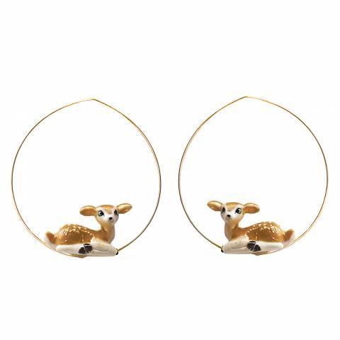 Orecchini pendenti cerchio creole oro Bambi porcellana