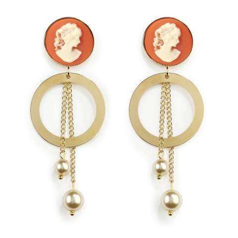 Orecchini pendenti con cerchio oro Classic Cammeo arancione