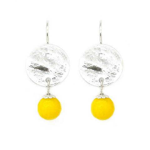 Orecchini pendenti corti elemento tondo e perla gialla