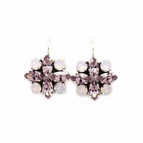 Orecchini pendenti corti fiore bicolore cristalli Swarovski rosa