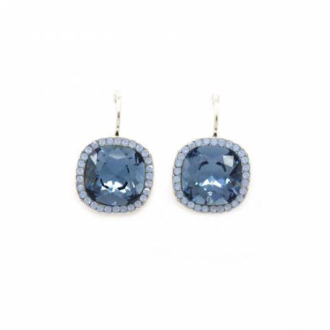 Orecchini pendenti cristallo Swarovski blu quadrato