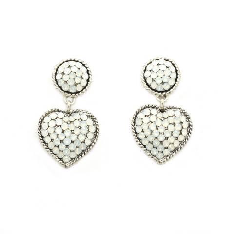 Orecchini pendenti cuore cristalli opali bianchi