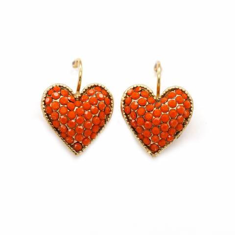 Orecchini pendenti dorati cuore cristalli rossi