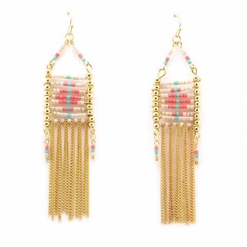 Orecchini pendenti etnici perline e frangia catene oro