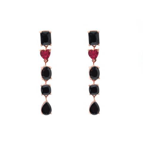 Orecchini pendenti lunghi argento 925 oro rosa Spinelli e Rubellite
