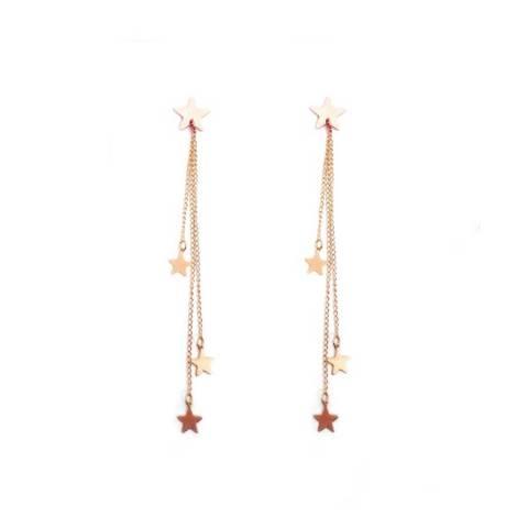 Orecchini pendenti lunghi catene e stelline oro rosa