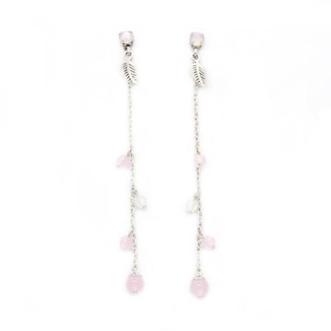 Orecchini pendenti lunghi perline rosa e piuma
