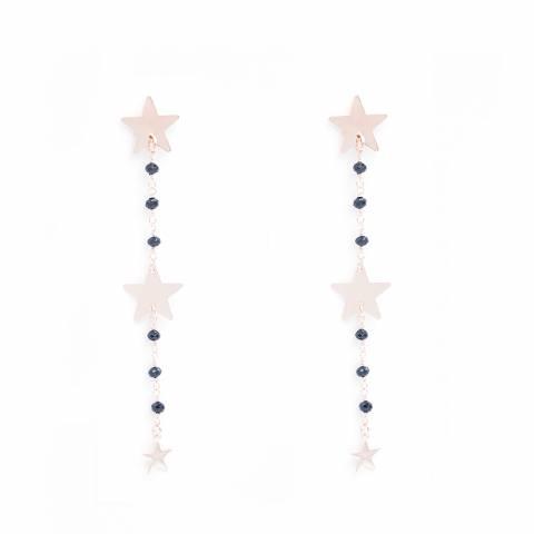 Orecchini pendenti lunghi rosario nero 3 Stelle
