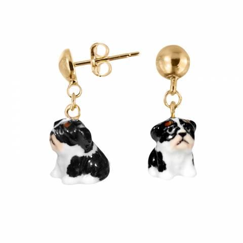 Orecchini pendenti oro cane Bulldog Francese porcellana