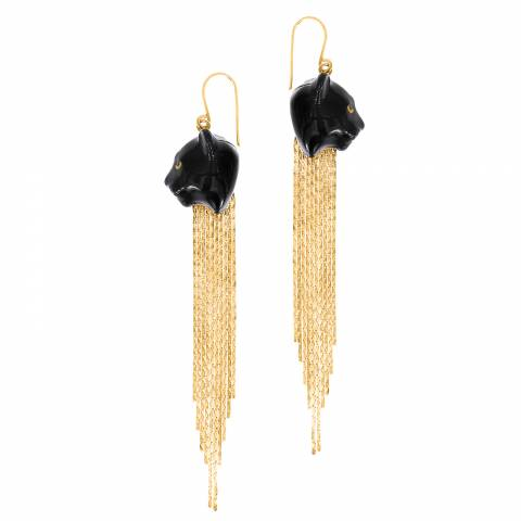 Orecchini pendenti oro Pantera nera frangia oro
