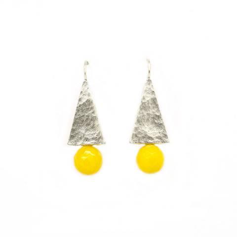 Orecchini pendenti placca argento e perla gialla