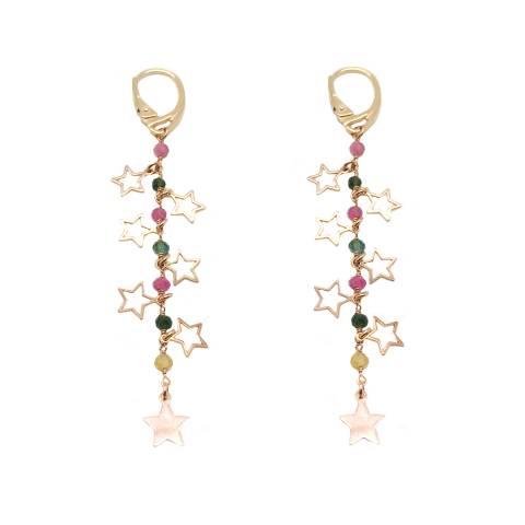 Orecchini pendenti rosario pietre dure multicolor argento 925 oro rosa con stelle