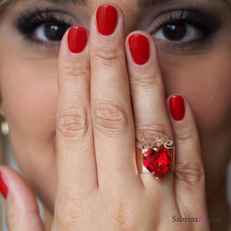 Anello a fascia regolabile Love oro cuore rosso Swarovski
