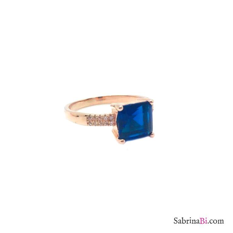 Anello argento 925 oro rosa Zircone quadrato blu