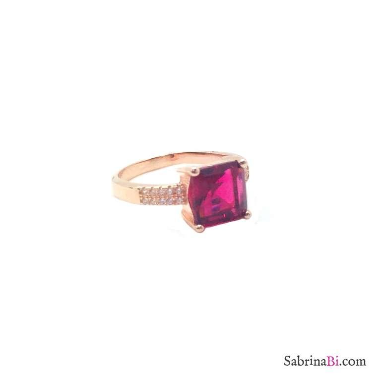 Anello argento 925 oro rosa Zircone quadrato rubino
