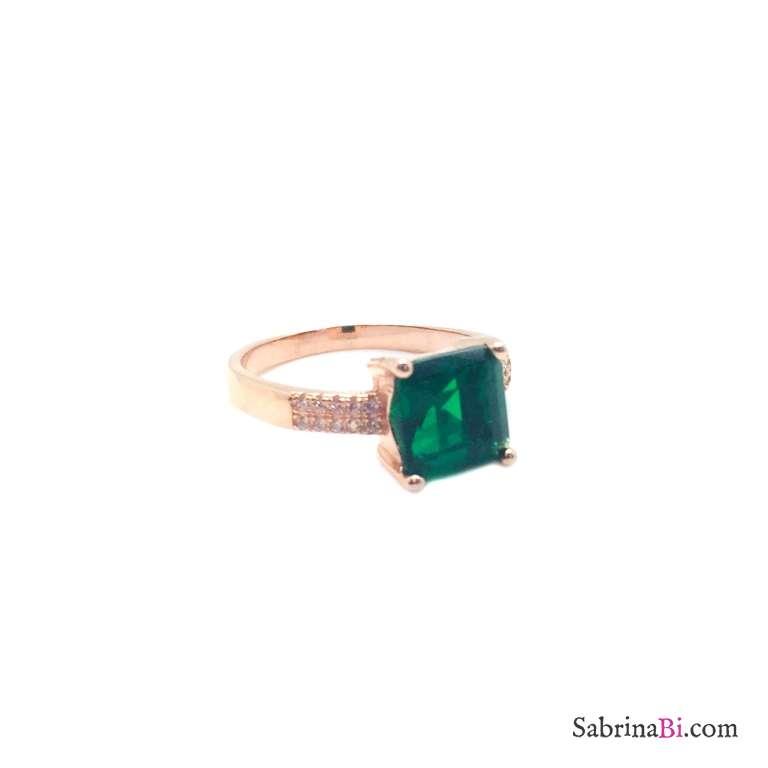Anello argento 925 oro rosa Zircone quadrato verde