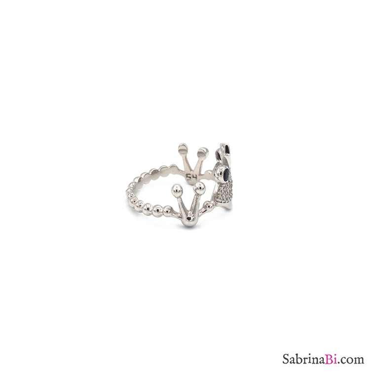Anello argento 925 Principe Ranocchio brillanti Tg. 54