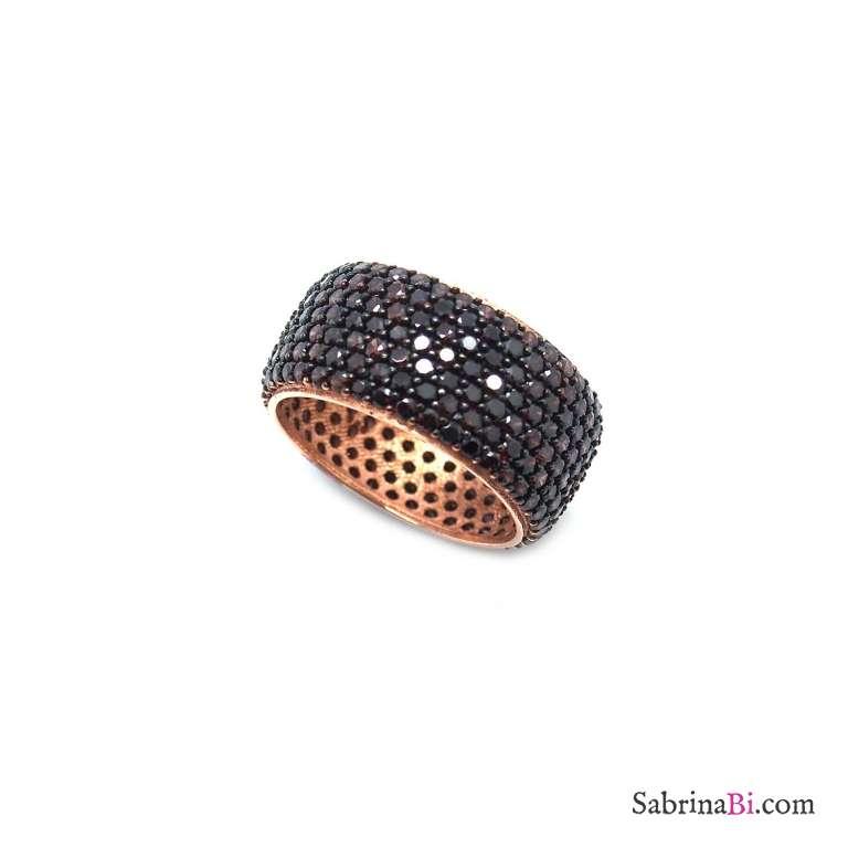 Anello fascia alta argento 925 oro rosa pavè Zirconi brown