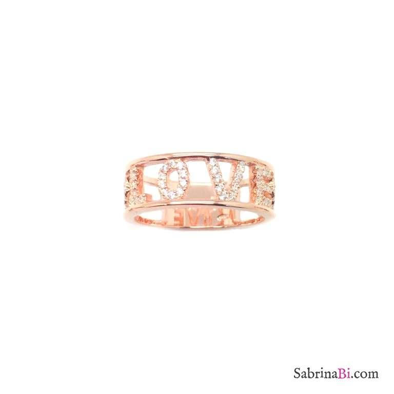 Anello fascia argento 925 oro rosa Love Zirconi