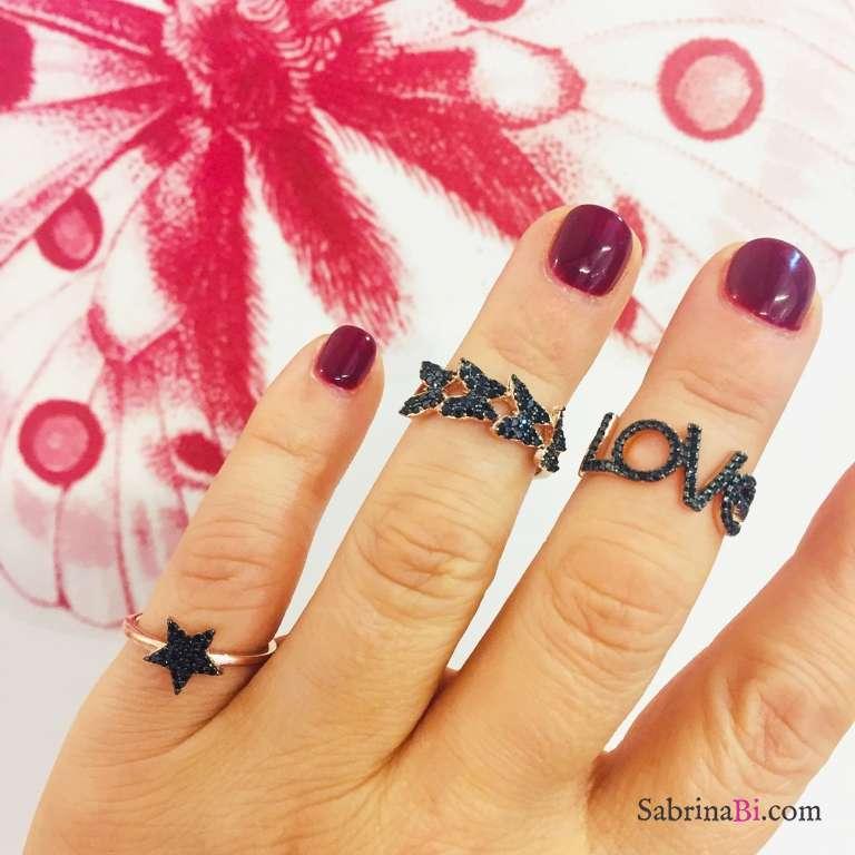 Anello fascia argento 925 oro rosa volo di farfalle Zirconi neri