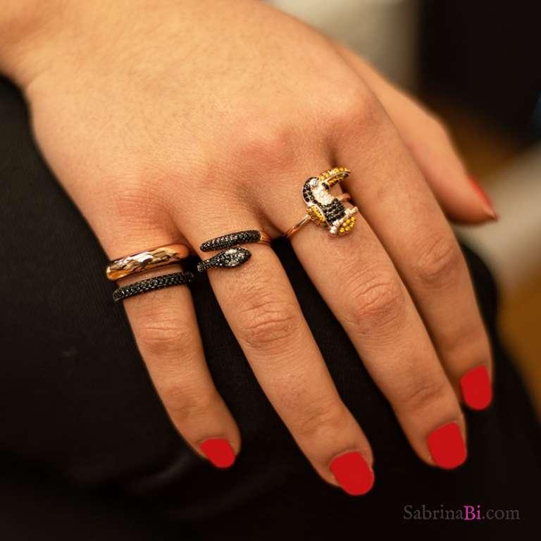 Anello fede doppia argento 925 oro rosa Zirconi neri