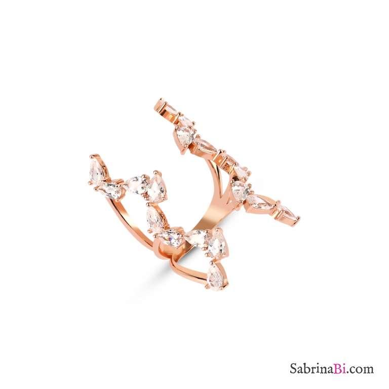 Anello rampicante armatura regolabile aperta argento 925 oro rosa brillanti Tg17