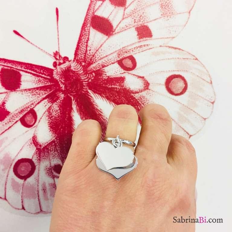 Anello regolabile argento 925 doppio cuore grande
