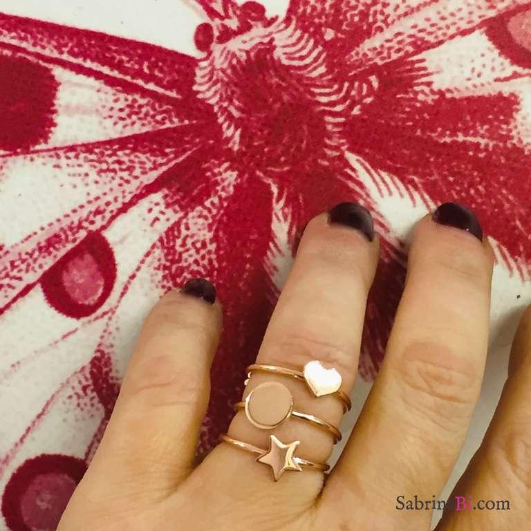 Anello regolabile argento 925 oro rosa cerchio piccolo