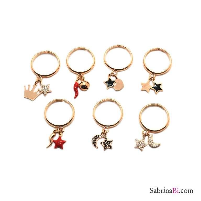Anello regolabile argento 925 oro rosa Cornetto rosso e campanellino