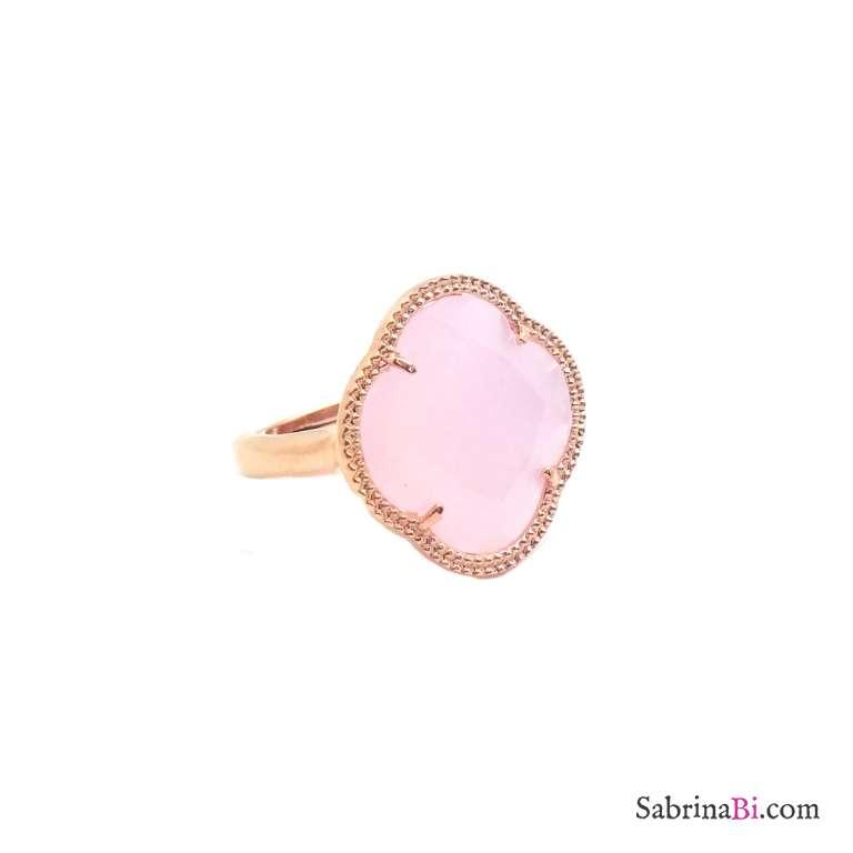 Anello regolabile argento 925 oro rosa fiore Opale rosa