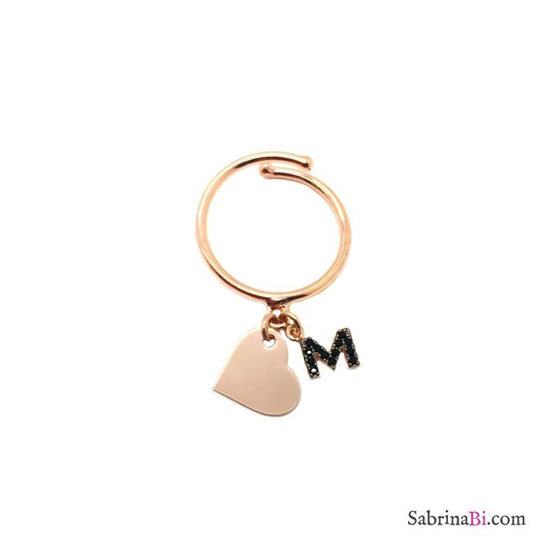 Rose gold sterling silver black Zirconia letter name initial and heart adjustable ring